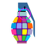 Colorful hand grenade for hippies. Color bursting part military. Munition. Army informal projectile Royalty Free Stock Image
