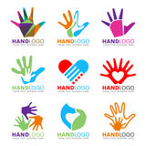 Colorful Hand and heart logo concept style vector set design Stock Images