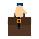 Colorful hand holding a executive suitcase icon Royalty Free Stock Photography