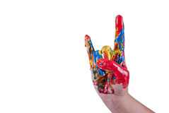 Colorful hand horns gesture Royalty Free Stock Photos
