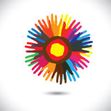 Colorful hand icons as petals of flower: happy community concept. This vector graphic illustration represents people team standing united, community unity Stock Photography