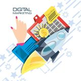 Colorful hand and icons of digital marketing. Vector illustration Stock Photo