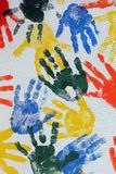 Colorful hand imprints Royalty Free Stock Images