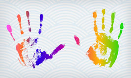 Colorful hand imprints. On a waved background Royalty Free Stock Photography