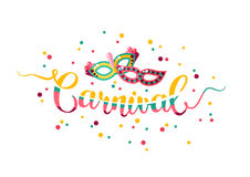 Colorful hand lettering Carnival with masks Stock Photos