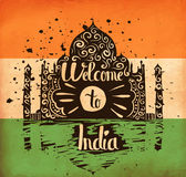 Colorful hand lettering is a poster on the theme of travel and adventure abroad. Familiarity with the culture of India. Vector Royalty Free Stock Photography