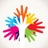 Colorful hand like tree shape Royalty Free Stock Photos