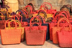 Colorful hand made jute bags Royalty Free Stock Photos