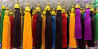 Colorful yarn decorations. Colorful hand maid yarn hanging.traditionally fashion of the Arab emirate.using in vehicles for decoration Royalty Free Stock Photography