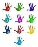 Colorful hand numbers. Isolated on white Royalty Free Stock Photography