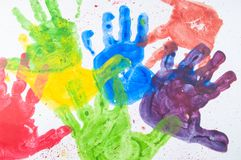 Colorful Hand Paint From Kids Hands On White Paper Stock Image