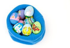 Colorful hand painted Easter eggs Stock Photo