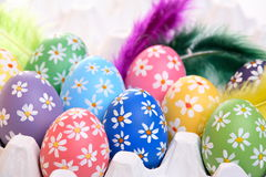Colorful hand painted easter eggs Stock Photography