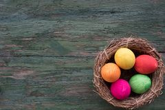 Colorful hand painted easter eggs Royalty Free Stock Image