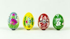 Colorful hand painted easter eggs next to each other royalty free stock image