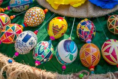 Colorful hand painted easter eggs with a variety of patterns. Br royalty free stock images