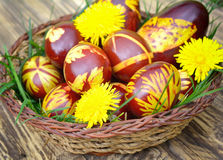 Colorful hand painted Easter eggs Stock Image