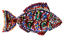 Colorful hand-painted fish on white background Royalty Free Stock Photos