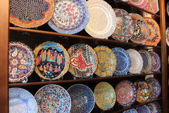 Colorful hand painted plates Stock Images