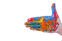 Colorful hand pointing Stock Photography