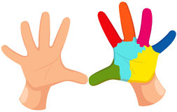 Colorful hand print. Illustration of isolated colorful hand print on white Stock Photography