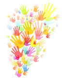 Colorful hand print background Royalty Free Stock Photos
