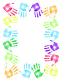 Colorful hand print frame. Over a white background Stock Photos