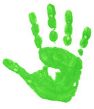 Colorful hand prints. Close up of colorful child hand prints on white background royalty free stock photography