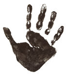 Colorful hand prints. Close up of colorful child hand prints on white background stock images