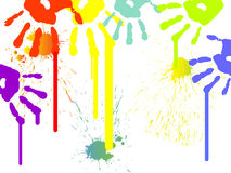 Colorful hand prints Stock Photo