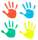 Colorful hand prints. Collection of colorful hand prints on white background Stock Image