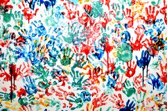 Colorful hand prints Stock Photography