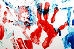 Colorful hand prints Stock Photos