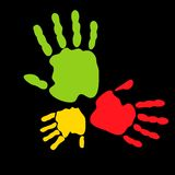 Colorful hand prints. Abstract vector illustration of colored hand prints Stock Images
