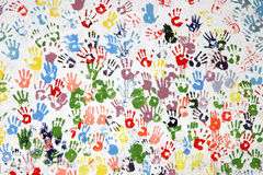 Colorful hand-prints Stock Images