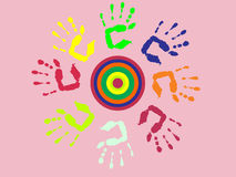 Colorful hand prints. Vector illustration of colorful hands Royalty Free Stock Image