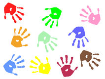 Colorful hand prints. Vector illustration of colorful hands Royalty Free Stock Photo