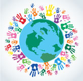 Colorful Hand prints around the earth vector. EPS10 Royalty Free Stock Photo
