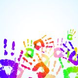 Colorful Hand Prints Background. Vector illustration Stock Photography