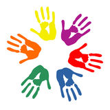 Colorful hands circle Stock Photos