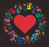 Colorful Hand prints and heart shape vector. EPS10 Royalty Free Stock Photo