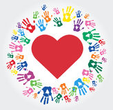 Colorful Hand prints and heart shape vector. EPS10 Royalty Free Stock Image