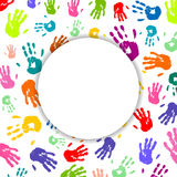 Colorful Hand prints. Illustration of an Abstract Background with Colorful Hand prints Royalty Free Stock Photography