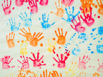 Colorful hand prints. Of kids royalty free stock photos