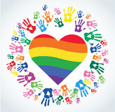 Colorful Hand prints and rainbow heart shape vector. EPS10 Royalty Free Stock Image