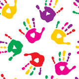 Colorful hand prints on white background Royalty Free Stock Images