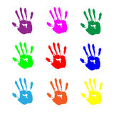 Colorful hand prints on white background Stock Image