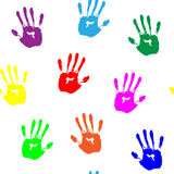 Colorful hand prints on white background Royalty Free Stock Image