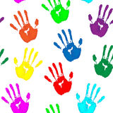 Colorful hand prints on white background Stock Photography