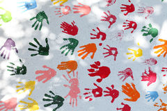 Colorful hand prints Royalty Free Stock Photo